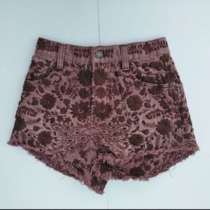 Free People embroidered flower shorts